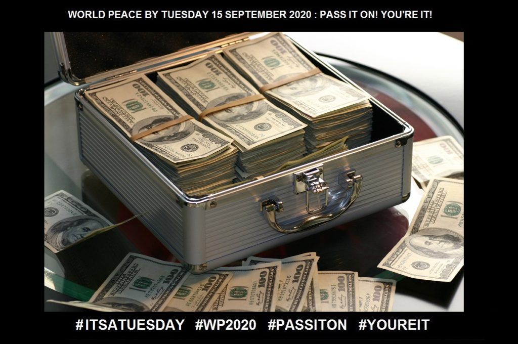 Briefcase full of US $100 bills making the picture show abundance